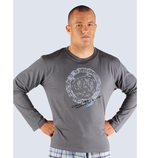 GINA pánské tričko s dlouhým rukávem pánské, dlouhý rukáv, šité Pyžama 2013 79404P - lékořice L, vel. L, lékořice