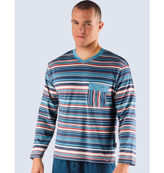 GINA pánské tričko s dlouhým rukávem pánské, dlouhý rukáv, šité Pyžama 2013 79407P - lékořice L, vel. L, lékořice