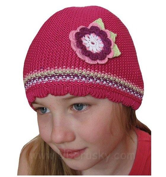 Háčkovaná čepice, vel. 116, tm. růžová