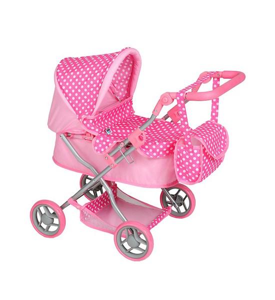 Hluboký kočárek pro panenky PlayTo Viola červený, světle růžová