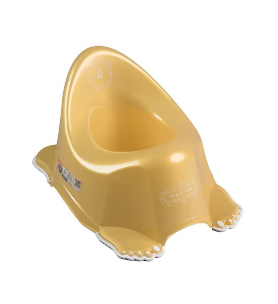 Hrající dětský nočník protiskluzový béžový medvídek, zlatá