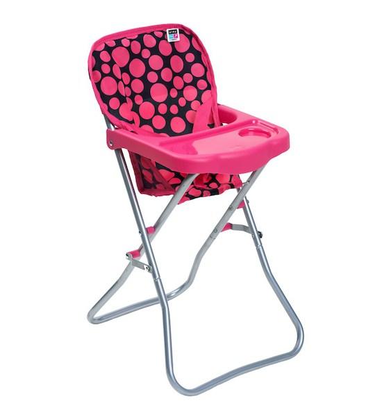 Jídelní židlička pro panenky PlayTo Dorotka růžová, Růžová