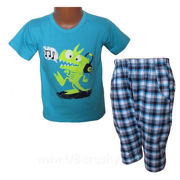 Letní komplet, pyžamo JULEK (H1106), vel. 128, sv. modrá