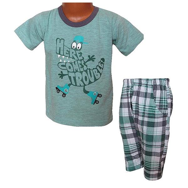 Letní komplet, pyžamo, Julek (Taro1105), vel. 128, šedo-zelená