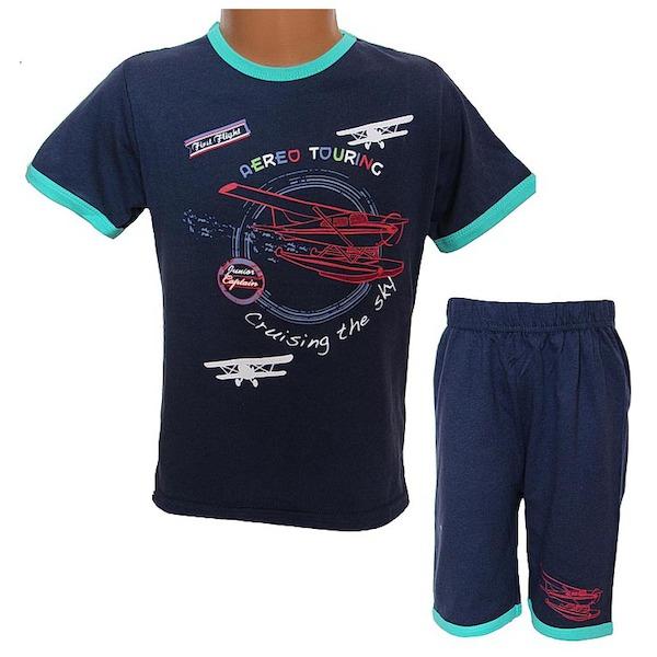Letní komplet, pyžamo Wolf (S2763), vel. 128, tm. modrá