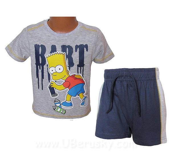 Letní komplet Simpsons (OE1244), vel. 104, šedo-modrá