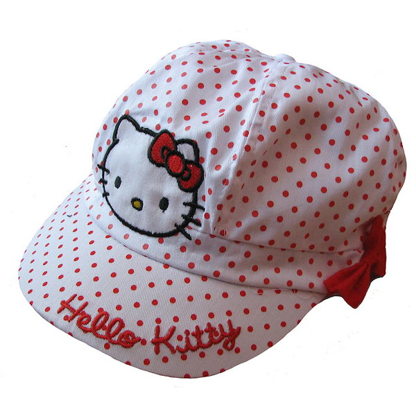 Letní kšiltovka Hello Kitty (S2112), vel. 4-8 let, bílá-puntík