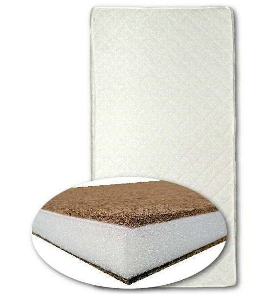 Matrace do kolébky kokos-molitan-kokos 80x40 cm - bílá, Bílá