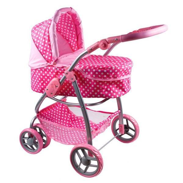 Multifunkční kočárek pro panenky PlayTo Jasmínka červený, světle růžová