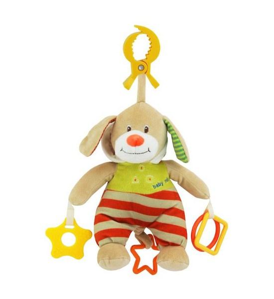 Plyšová hračka s hracím strojkem Baby Mix Medvídek s kapucí béžový, Červená