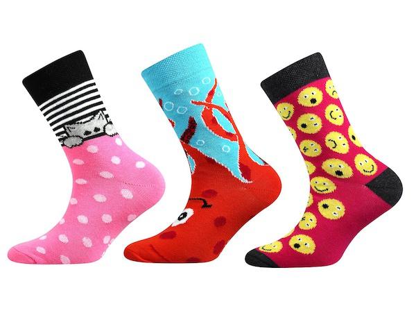 Ponožky Boma 3 páry (kočkaII), vel. 35-38, Růžová