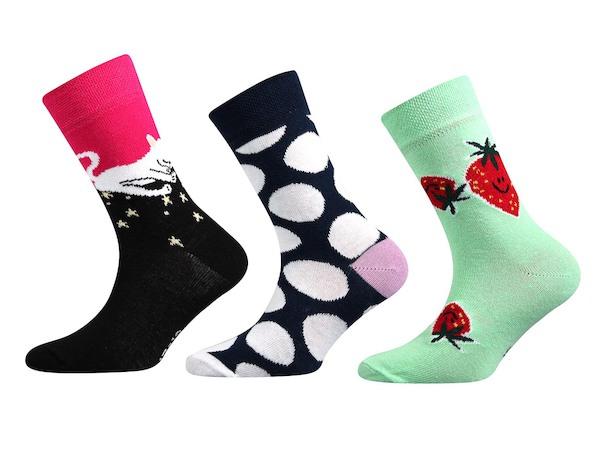 Ponožky Boma 3 páry (kočkaII), vel. 35-38, barevná