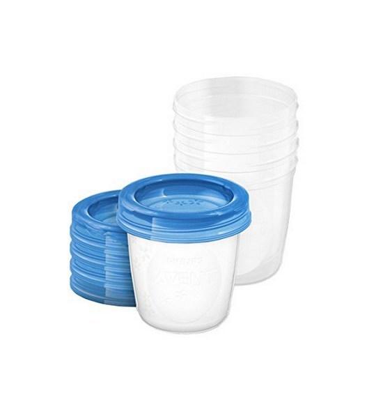 Sada Via pohárků s víčkem Avent 180 ml - 5 ks, Bílá