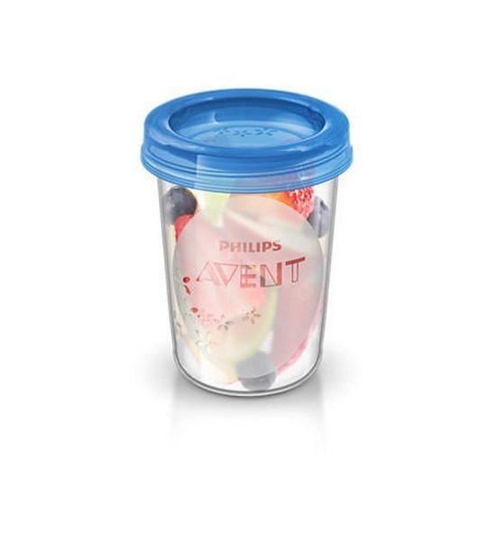 Sada Via pohárků s víčkem Avent 240 ml - 5 ks, Bílá