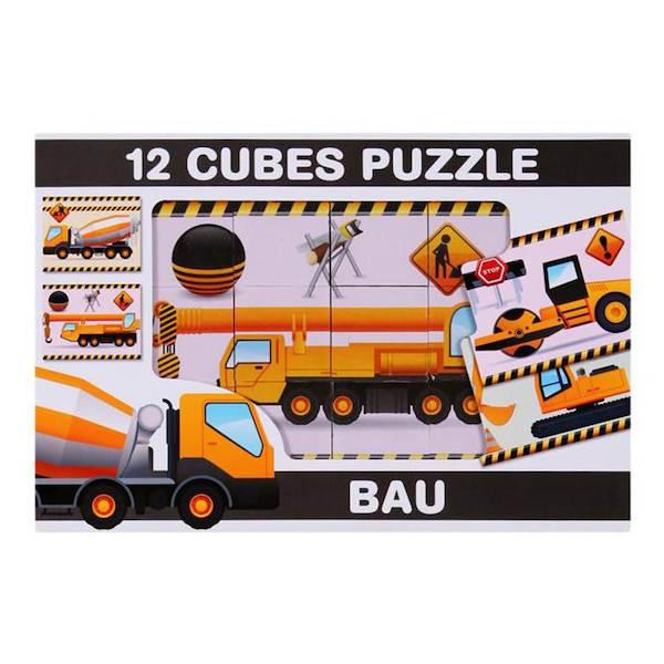 Skládací obrázkové kostky 12 ks stavební stroje, Dle obrázku