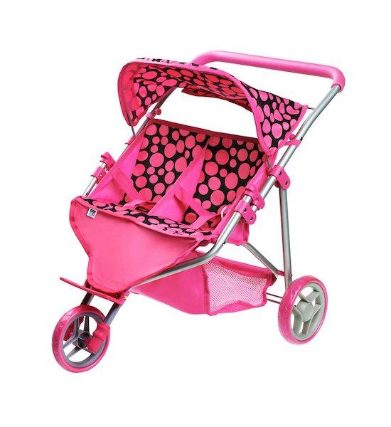 Sportovní kočárek pro 2 panenky PlayTo Klaudie růžový, Růžová