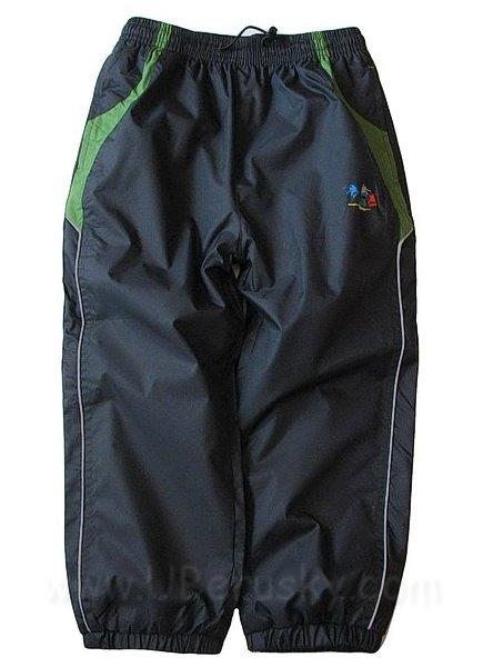 Šusťákové kalhoty Kugo, vel. 128, šedo-zelená