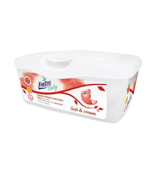 Vlhčené ubrousky Linteo Baby 72 ks Soft and cream BOX, Dle obrázku