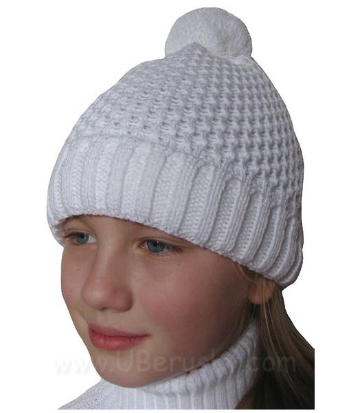 Zimní čepice jednobarevná, vel. 116-134, Bílá