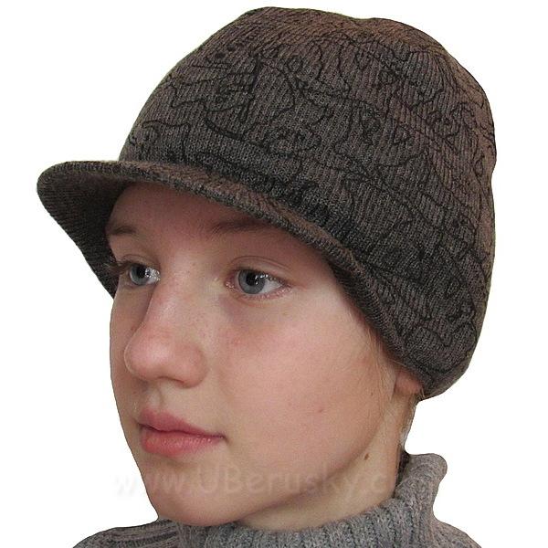 Zimní čepice s kšiltem (RDX217), vel. 128, šedo-černá