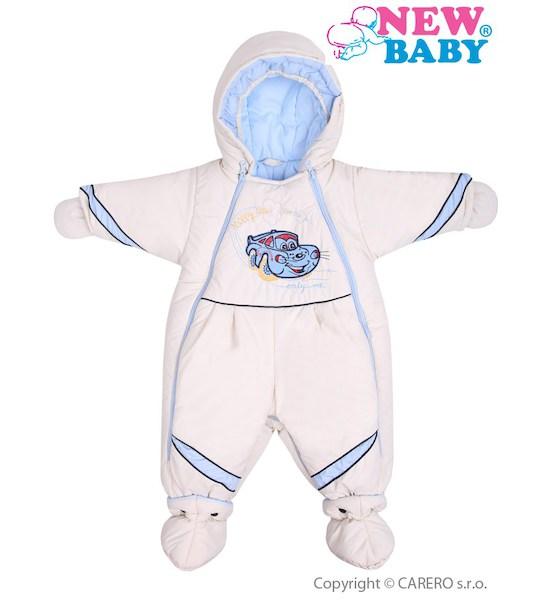 Zimní kombinéza New Baby Auto béžovo-modrá, vel. 74(6-9m), Béžová